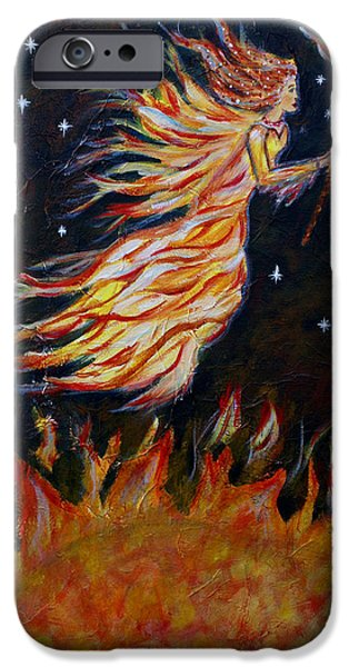 Night Angel iPhone Cases - Elemental Earth Angel of Fire iPhone Case by The Art With A Heart By Charlotte Phillips
