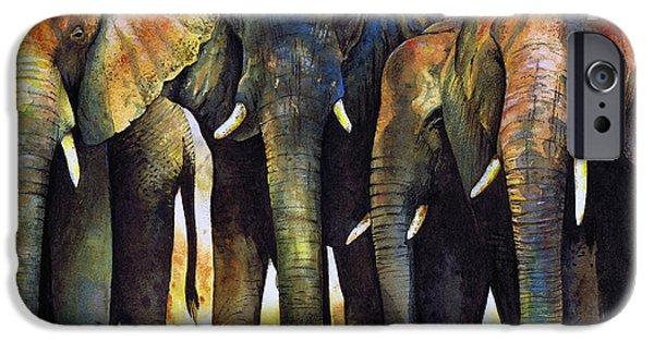 Animal iPhone Cases - Elephant Herd iPhone Case by Paul Dene Marlor