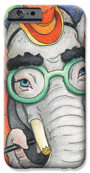 Elephant In Glasses iPhone Case by Amy S Turner