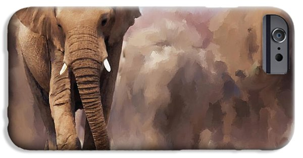 Elephants iPhone Cases - Elephant Painting iPhone Case by Michael Greenaway