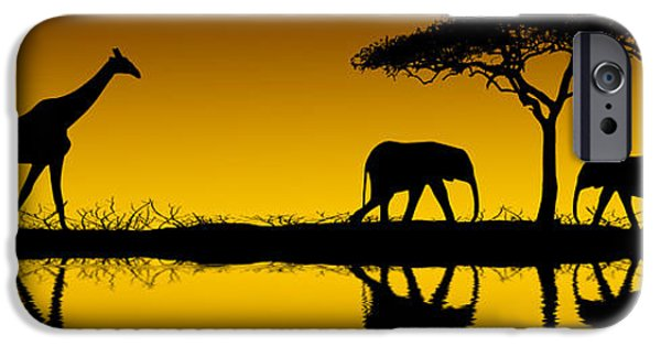 Elephants iPhone Cases - Elephants and Giraffes at Sunrise iPhone Case by David Davis and Photo Researchers