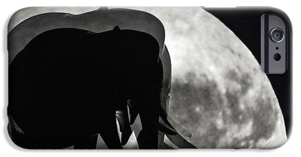 Elephant iPhone Cases - Elephants on Moonlight Walk iPhone Case by Kaye Menner