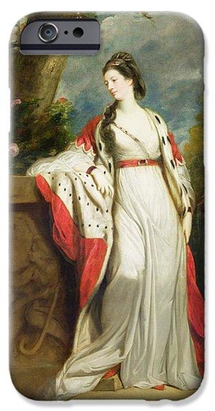 Duchess iPhone Cases - Elizabeth Gunning - Duchess of Hamilton and Duchess of Argyll iPhone Case by Sir Joshua Reynolds