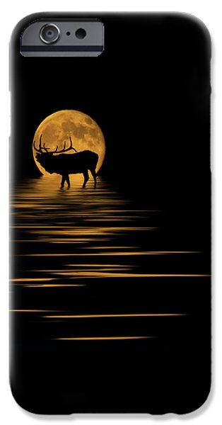 Evening Mixed Media iPhone Cases - Elk In The Moonlight iPhone Case by Shane Bechler