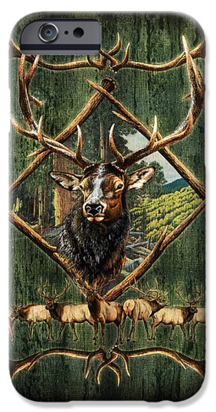 Outdoors iPhone Cases - Elk Lodge iPhone Case by JQ Licensing