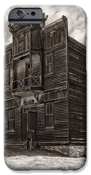 ELKHORN GHOST TOWN PUBLIC HALLS 3 - MONTANA iPhone Case by Daniel Hagerman