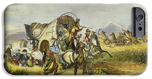 Destiny iPhone Cases - Emigrant Train Attack, 1857 iPhone Case by Granger