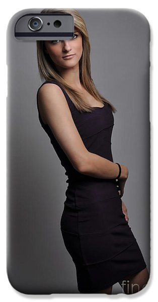Gray Hair iPhone Cases - Emma1 iPhone Case by Yhun Suarez