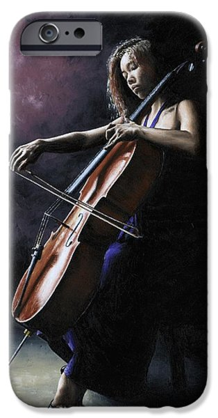 Seated iPhone Cases - Emotional Cellist iPhone Case by Richard Young