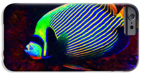 Fresh Water Fish iPhone Cases - Emperor Angelfish iPhone Case by Wingsdomain Art and Photography