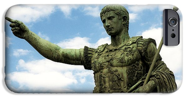Bronze iPhone Cases - Emperor Caesar Augustus iPhone Case by Fabrizio Troiani