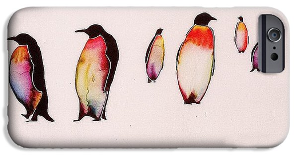 Birds Tapestries - Textiles iPhone Cases - Emperors On Ice iPhone Case by Carolyn Doe