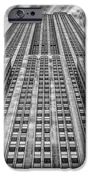 Empire State Building Black and White Square Format iPhone Case by John Farnan