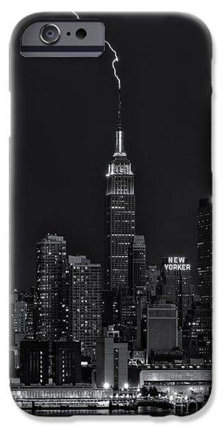 Electrical iPhone Cases - Empire State Building Lightning Strike II iPhone Case by Clarence Holmes