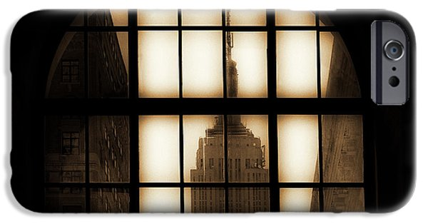 Empire State iPhone Cases - Empire State Building Sepia iPhone Case by Andrew Fare