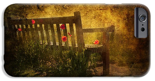 Background Mixed Media iPhone Cases - Empty Bench and Poppies iPhone Case by Svetlana Sewell