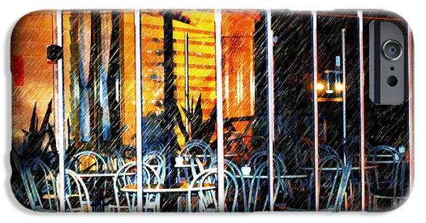 Empty Chairs iPhone Cases - Empty Chairs And Empty Tables iPhone Case by Georgiana Romanovna