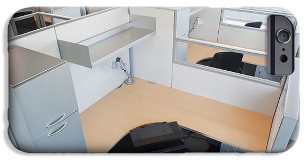 Office Space Photographs iPhone Cases - Empty Office Cubicles iPhone Case by Jetta Productions, Inc