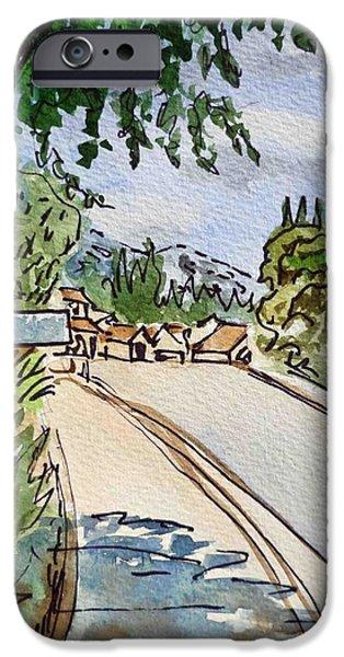 Sketch iPhone Cases - Empty Road Sketchbook Project Down My Street iPhone Case by Irina Sztukowski