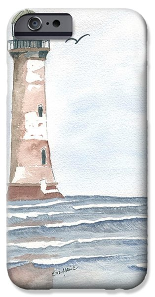 Lighthouse Drawings iPhone Cases - Empty Shores iPhone Case by Eva Ason