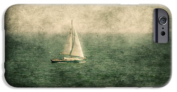 Sailboat Ocean Mixed Media iPhone Cases - Empty Yacht  iPhone Case by Svetlana Sewell