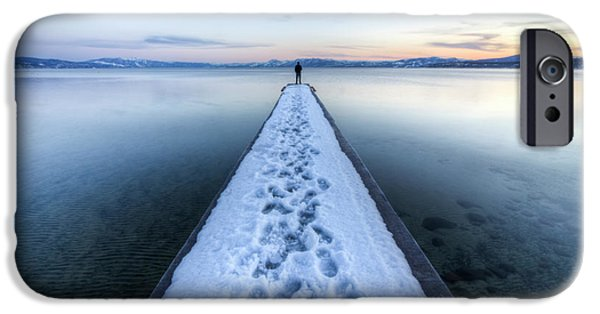 Snowy iPhone Cases - End of the Dock in Lake Tahoe  iPhone Case by Dustin K Ryan