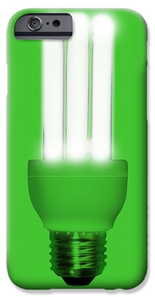 Energy-saving Light Bulb, Artwork iPhone Case by Victor Habbick Visions