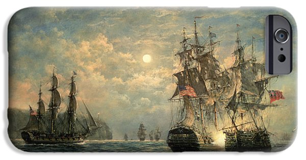 Sun Paintings iPhone Cases - Engagement Between the Bonhomme Richard and the  Serapis off Flamborough Head iPhone Case by Richard Willis