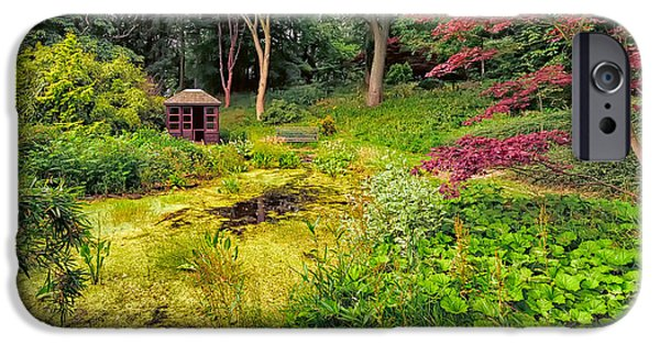 Shed Digital Art iPhone Cases - English Garden  iPhone Case by Adrian Evans