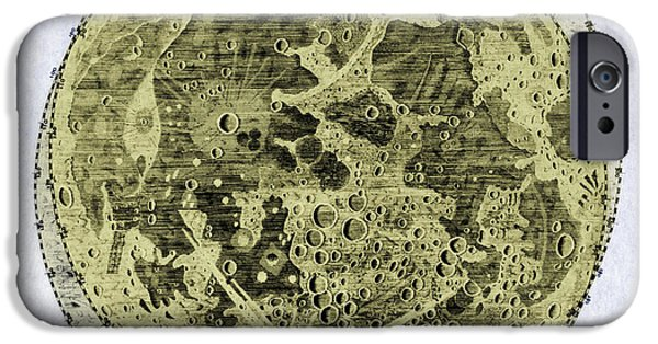 Color Enhanced iPhone Cases - Engraving Of Moon, 1645 iPhone Case by Science Source