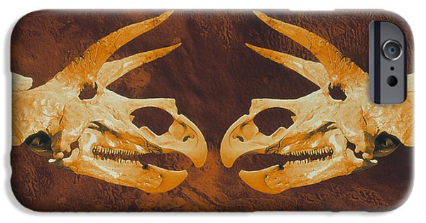 Triceratops iPhone Cases - Enhanced Image Of Triceratops Dinosaur Skulls iPhone Case by Mehau Kulyk