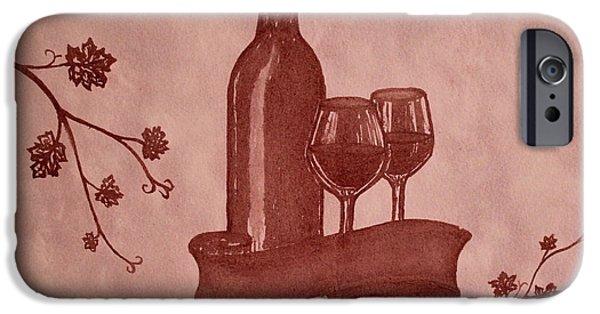 Glass Of Wine Paintings iPhone Cases - Enjoying Red Wine  painting with red wine iPhone Case by Georgeta  Blanaru