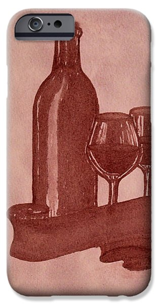 Enjoying Red Wine  painting with red wine iPhone Case by Georgeta  Blanaru