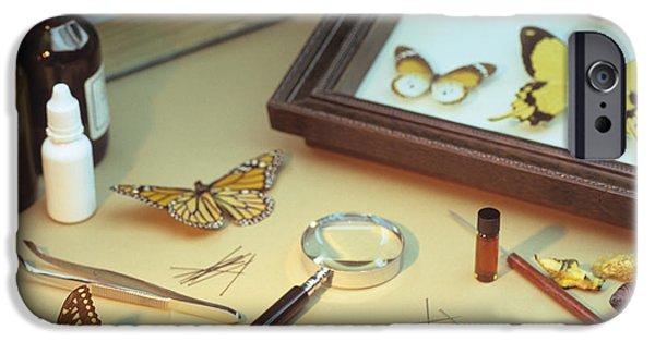 Tweezers iPhone Cases - Entomologists Equipment iPhone Case by David Aubrey