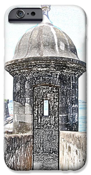 Entrance to Sentry Tower Castillo San Felipe Del Morro Fortress San Juan Puerto Rico Colored Pencil iPhone Case by Shawn O'Brien