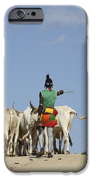 Ethiopia, Hamer Tribe Herding Cattl iPhone Case by Photostock-israel