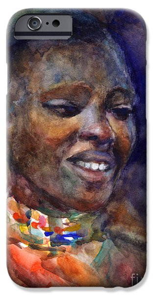Watercolor Drawings iPhone Cases - Ethnic woman portrait iPhone Case by Svetlana Novikova