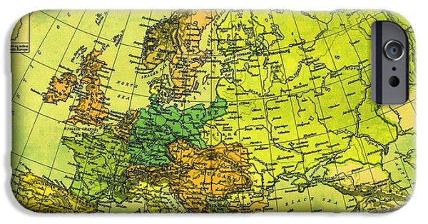 Norway Drawings iPhone Cases - Europe Map of 1911 iPhone Case by George Pedro