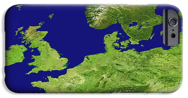 North Sea iPhone Cases - Europe, Satellite Image iPhone Case by Nasa