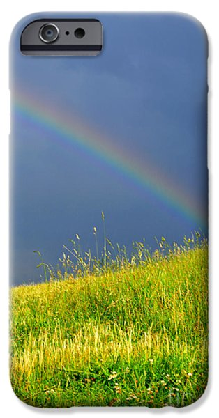 Evening Rainbow over Pasture Field iPhone Case by Thomas R Fletcher