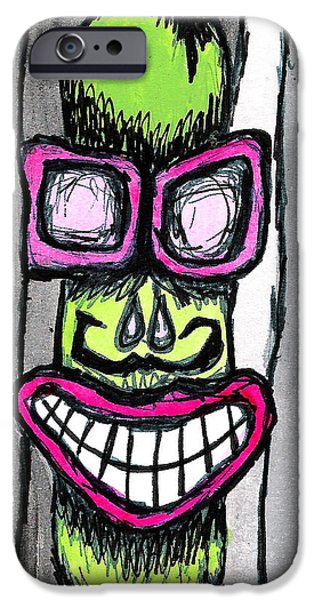 Creepy Drawings iPhone Cases - Everett Edwin iPhone Case by Jera Sky