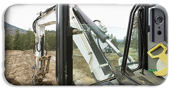 Construction Site iPhone Cases - Excavator at a Construction Site iPhone Case by Andersen Ross