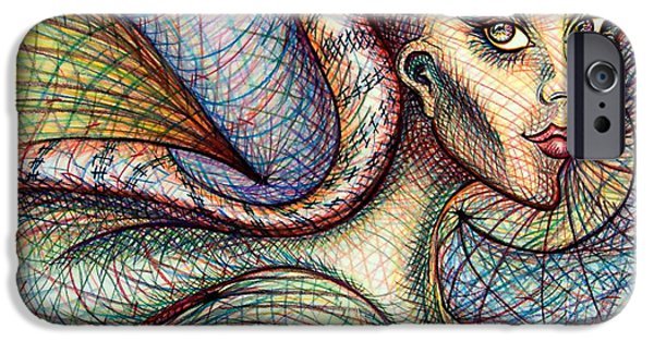 Colored Pencil Abstract Drawings iPhone Cases - Exposed iPhone Case by Danielle R T Haney