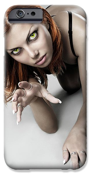 Gray Hair iPhone Cases - Expressive Sexy Cat Woman iPhone Case by Oleksiy Maksymenko