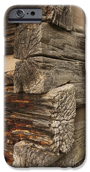 Cabin Corner iPhone Cases - Exterior Corner of a Wooden Building iPhone Case by Will and Deni McIntyre