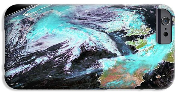 Winter Storm iPhone Cases - Extratropical Storm Katia, 2011 iPhone Case by University Of Dundee
