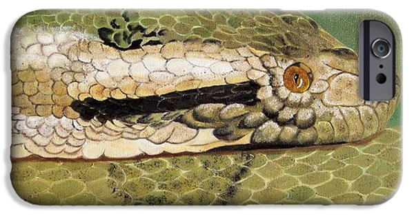 Serpent iPhone Cases - Eyes of the Constrictor iPhone Case by Debbie LaFrance