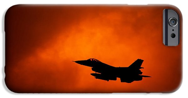 Recently Sold -  - Power iPhone Cases - F-16 on orange sky iPhone Case by Marta Holka