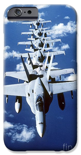 F-18 iPhone Cases - Fa-18c Hornet Aircraft Fly In Formation iPhone Case by Stocktrek Images