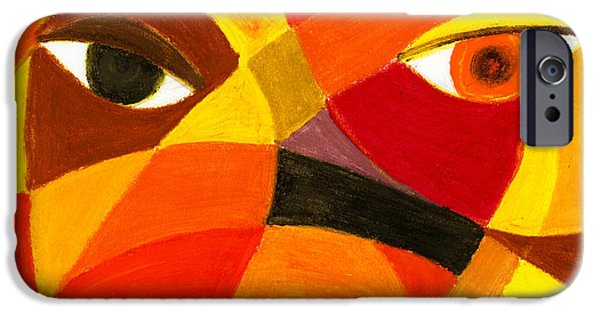 Expressionism Pastels iPhone Cases - Face 45 iPhone Case by Hakon Soreide